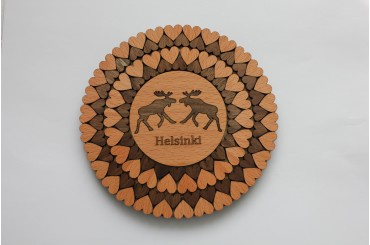 Trivet with a picture, text and hearts 15ø cm